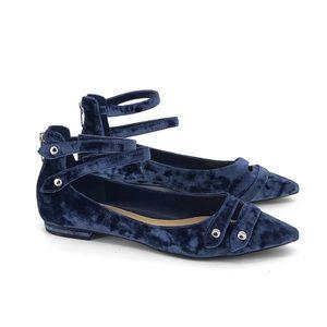 Marc Fisher Blue Velvet Ankle Strap Flats
